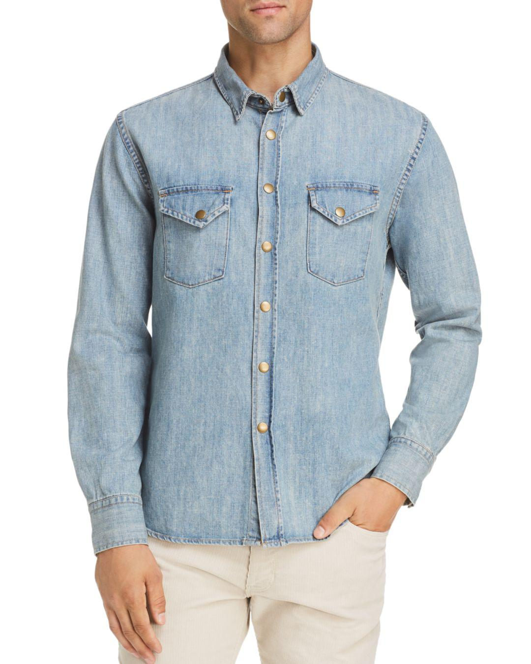 e6cf34bd5a Lyst - Billy Reid Distressed Sport Shirt in Blue for Men