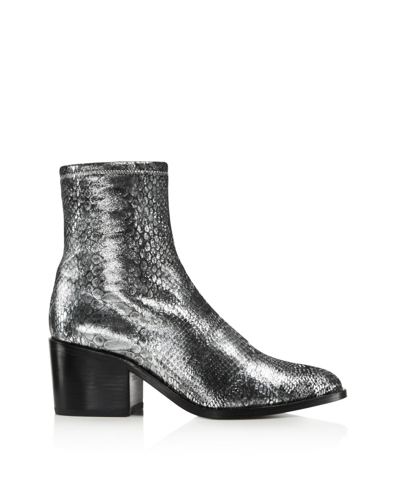 Opening Ceremony Women's Livv Metallic Snake-Embossed Leather Booties KiA93aWf
