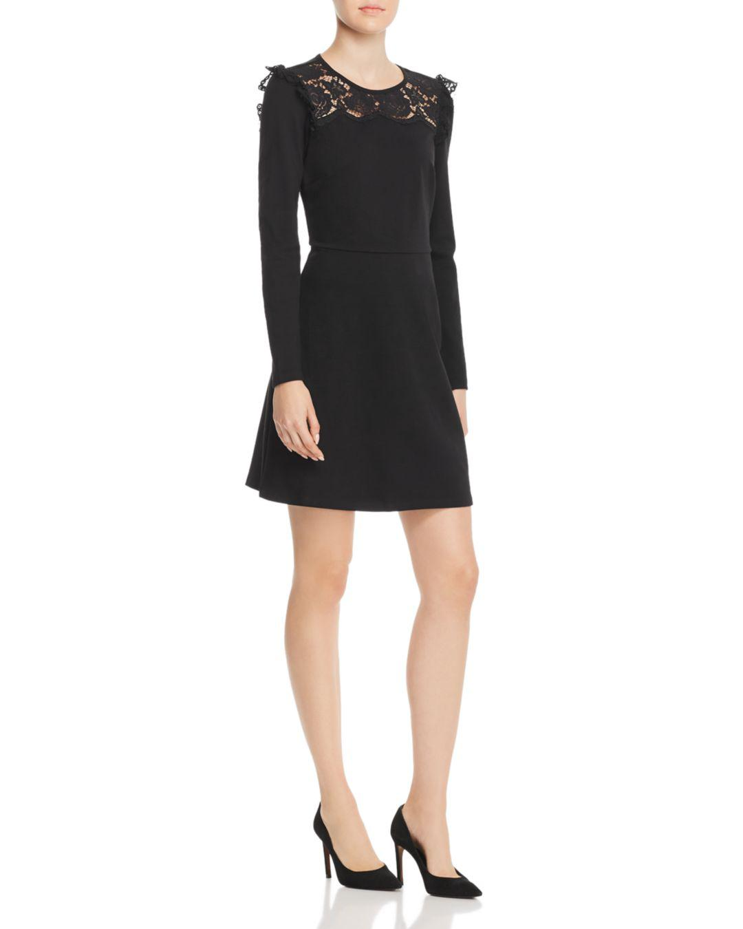 9fb2c9c8af Kate Spade Lace Yoke Ponte Dress in Black - Lyst