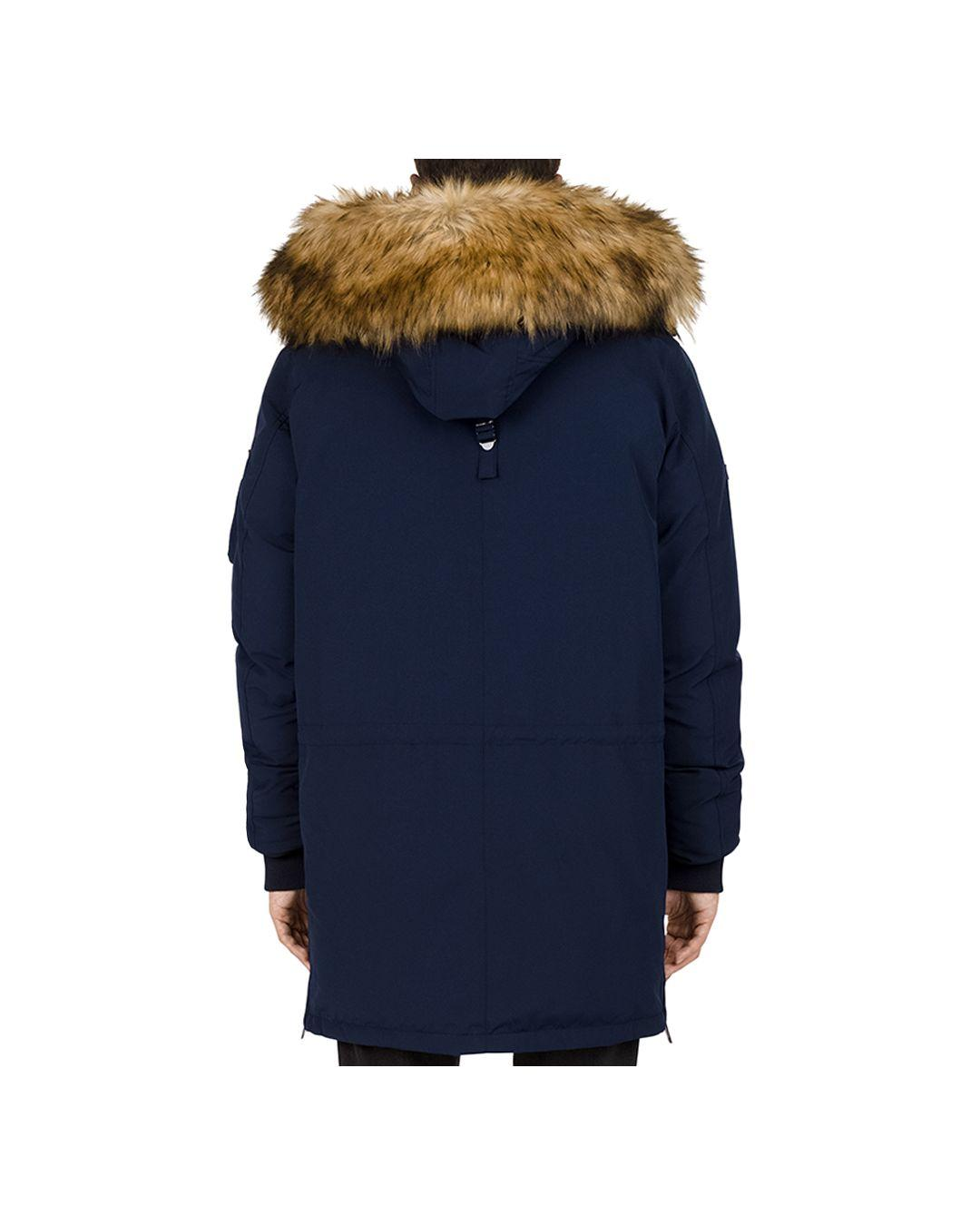 d358cd8f96 Lyst - The Kooples Mixed - Media Puffa Parka Jacket in Blue for Men