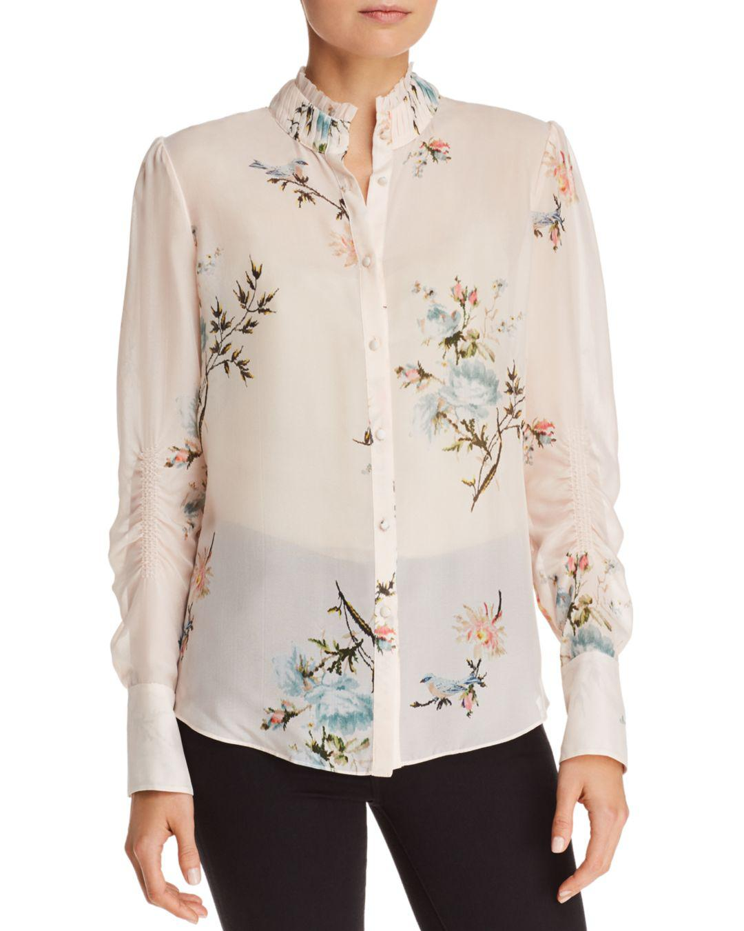 db0989e6022c0b Joie Elzie Silk Floral Blouse in Natural - Save 9% - Lyst