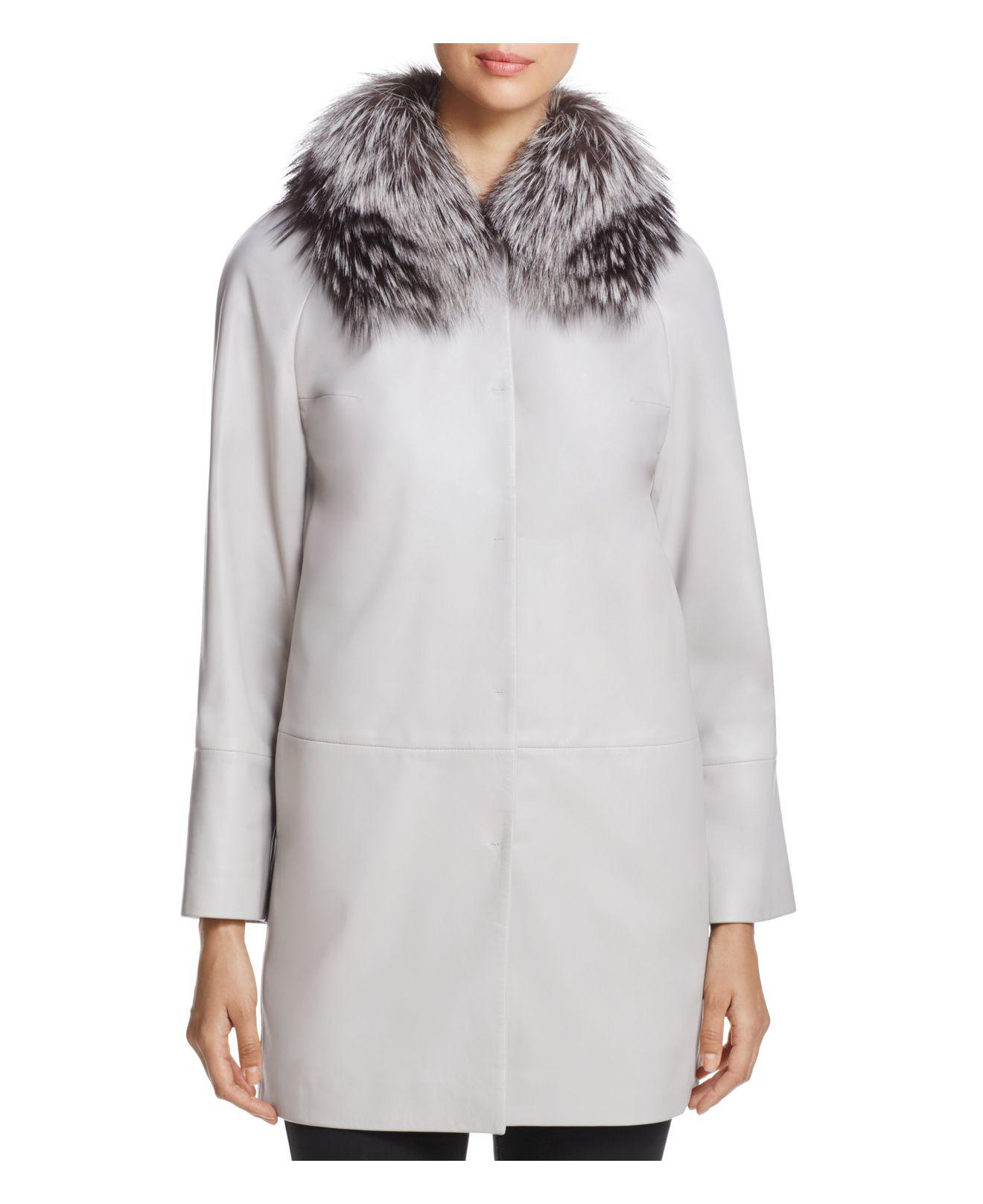 Maximilian Fox Fur-collar Leather Jacket in Natural
