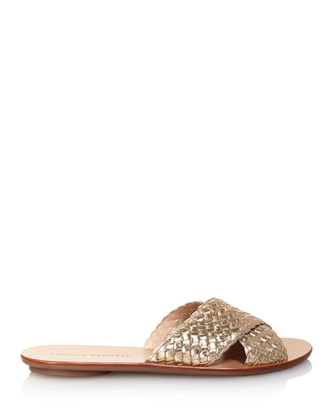 26000153fed5 Lyst - Loeffler Randall Women s Claudie Metallic Woven Leather Slide Sandals