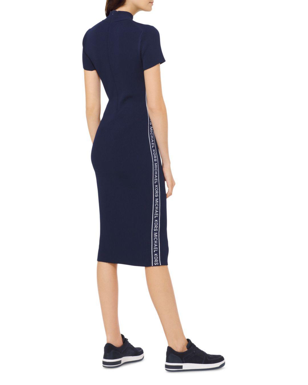 cc44e98df56 MICHAEL Michael Kors Logo Tape Ribbed Knit Dress in Blue - Lyst
