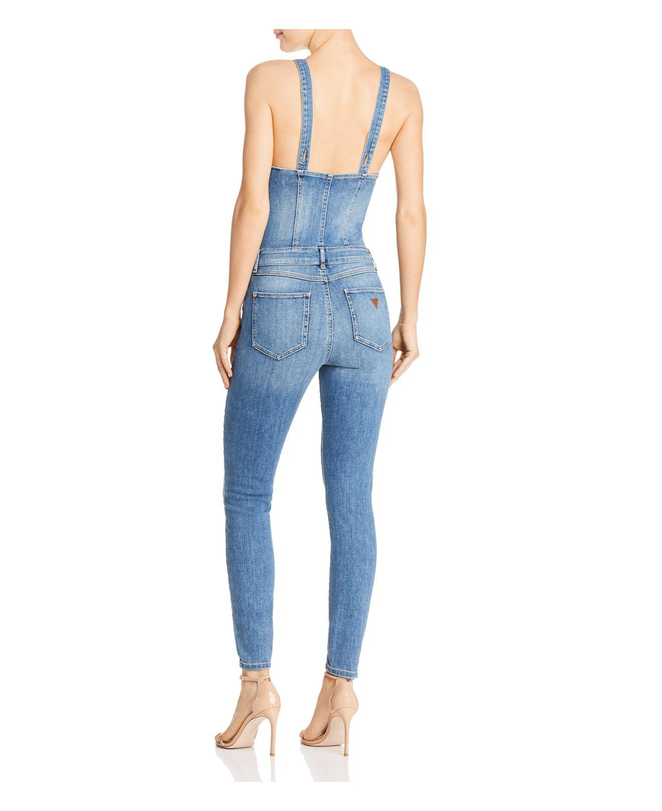 c3fa096cc4d6 Lyst - Guess Button-front Denim Jumpsuit in Blue