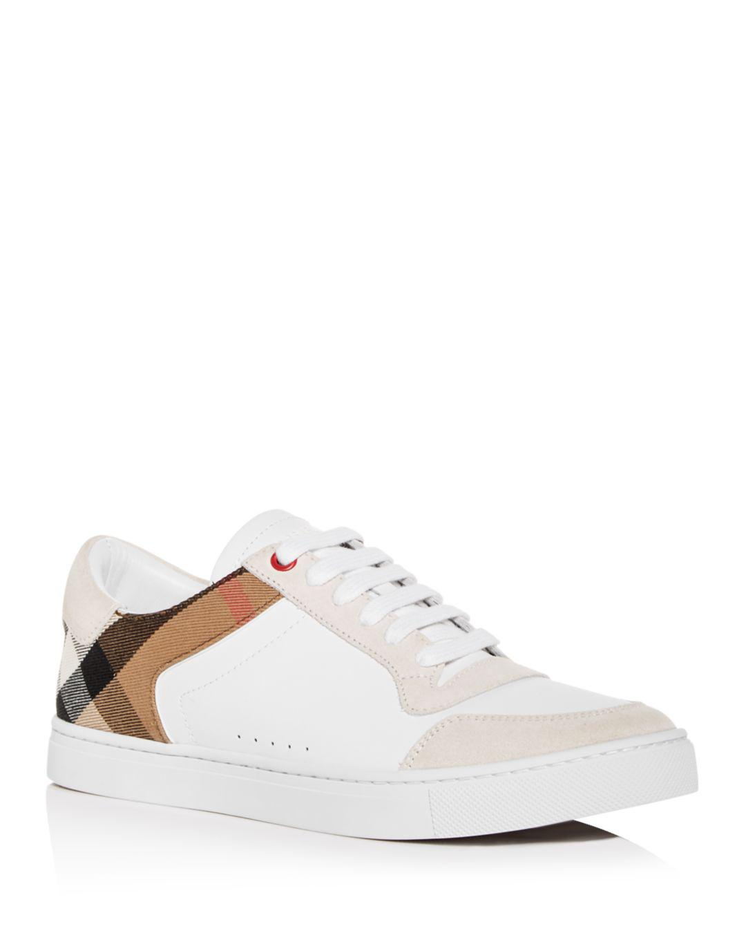 ce93a270af0 Lyst - Burberry Men s Reeth Leather Low-top Sneakers in White for Men