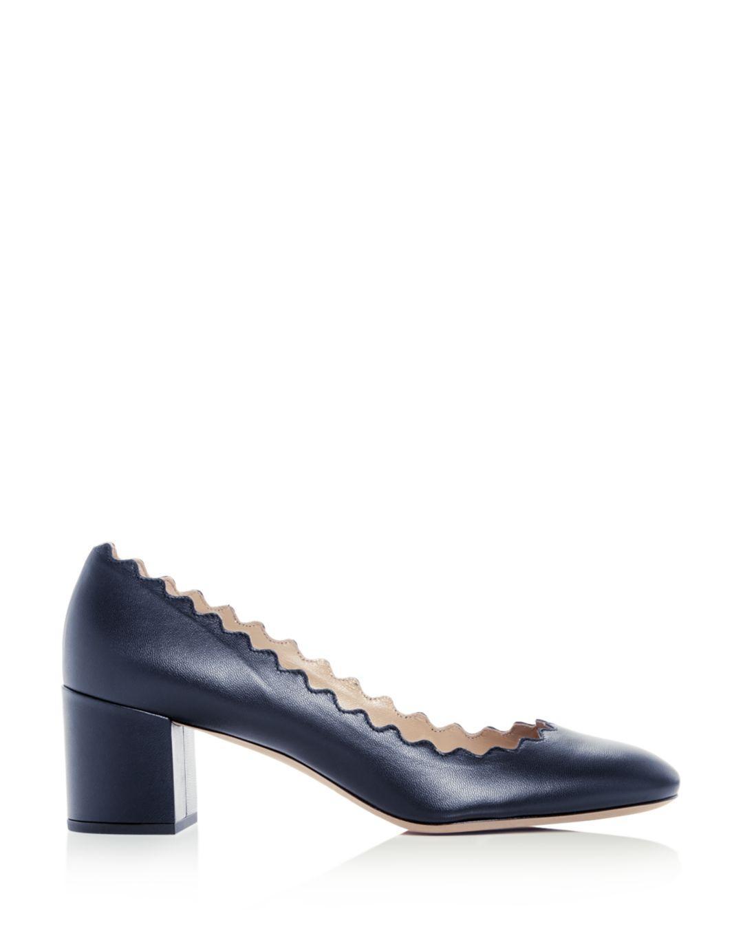 5d3e4cda504c Lyst - Chloé Women s Lauren Scalloped Block-heel Pumps in Blue