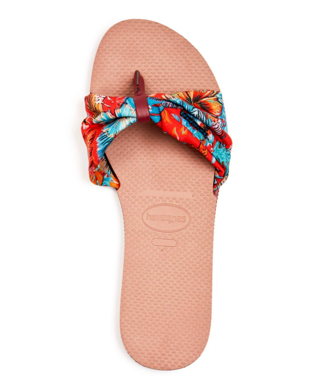 f1e4e2c834cde3 Lyst - Havaianas Floral-print Cinched Sandals in Pink
