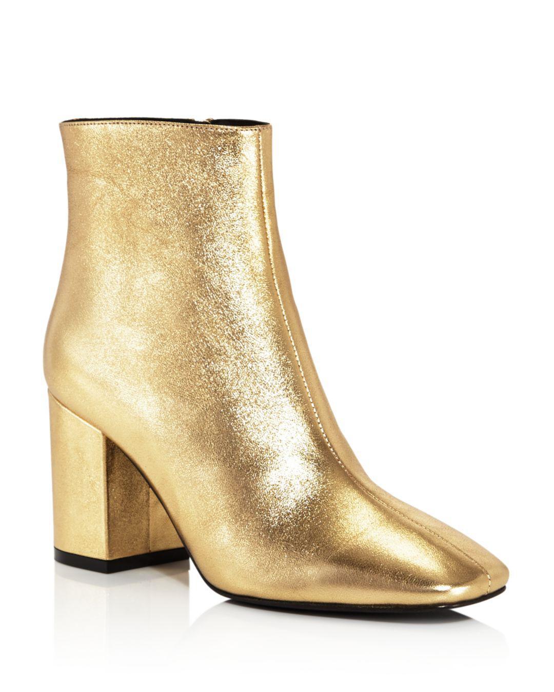 b7b6c989bab18 Lyst - Anine Bing Women s Jane Leather Block Heel Booties in Metallic
