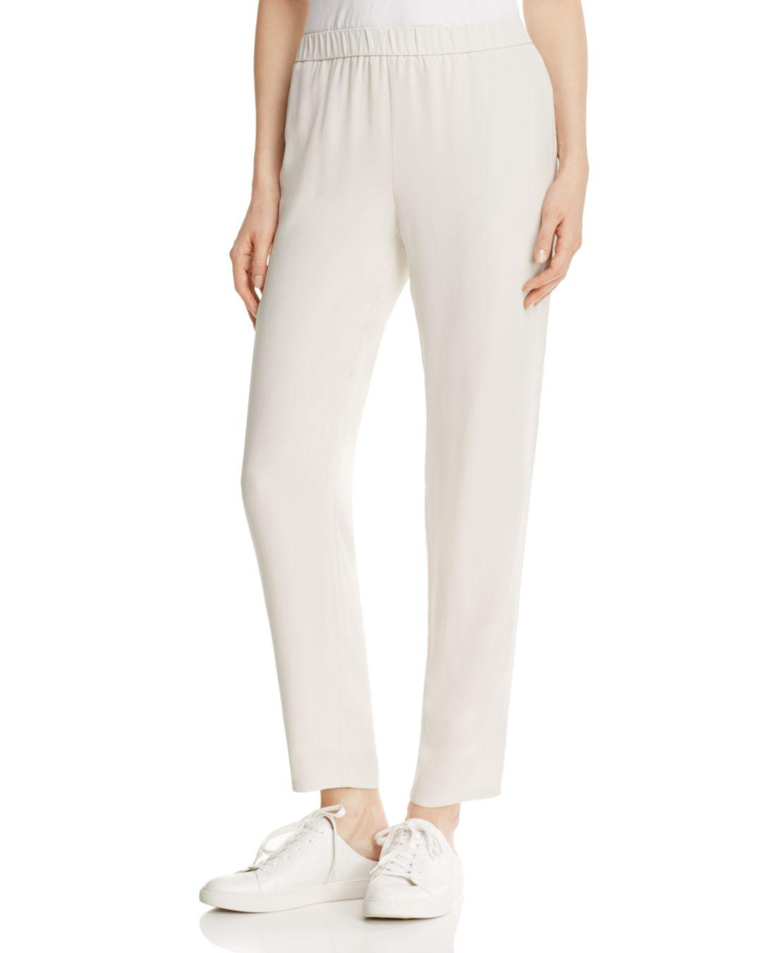 990f817e6fa Lyst - Eileen Fisher System Slouchy Silk Ankle Pants in Black - Save 7%