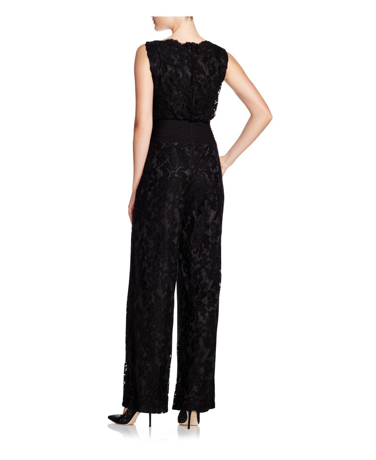 9e5290eb88bea Tadashi Shoji Sleeveless Blouson Lace Jumpsuit in Black - Lyst