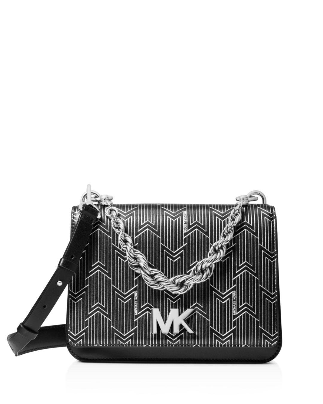 99b683c299e615 Michael Kors - Black Mott Large Metallic Deco Leather Crossbody Bag - Lyst.  View fullscreen