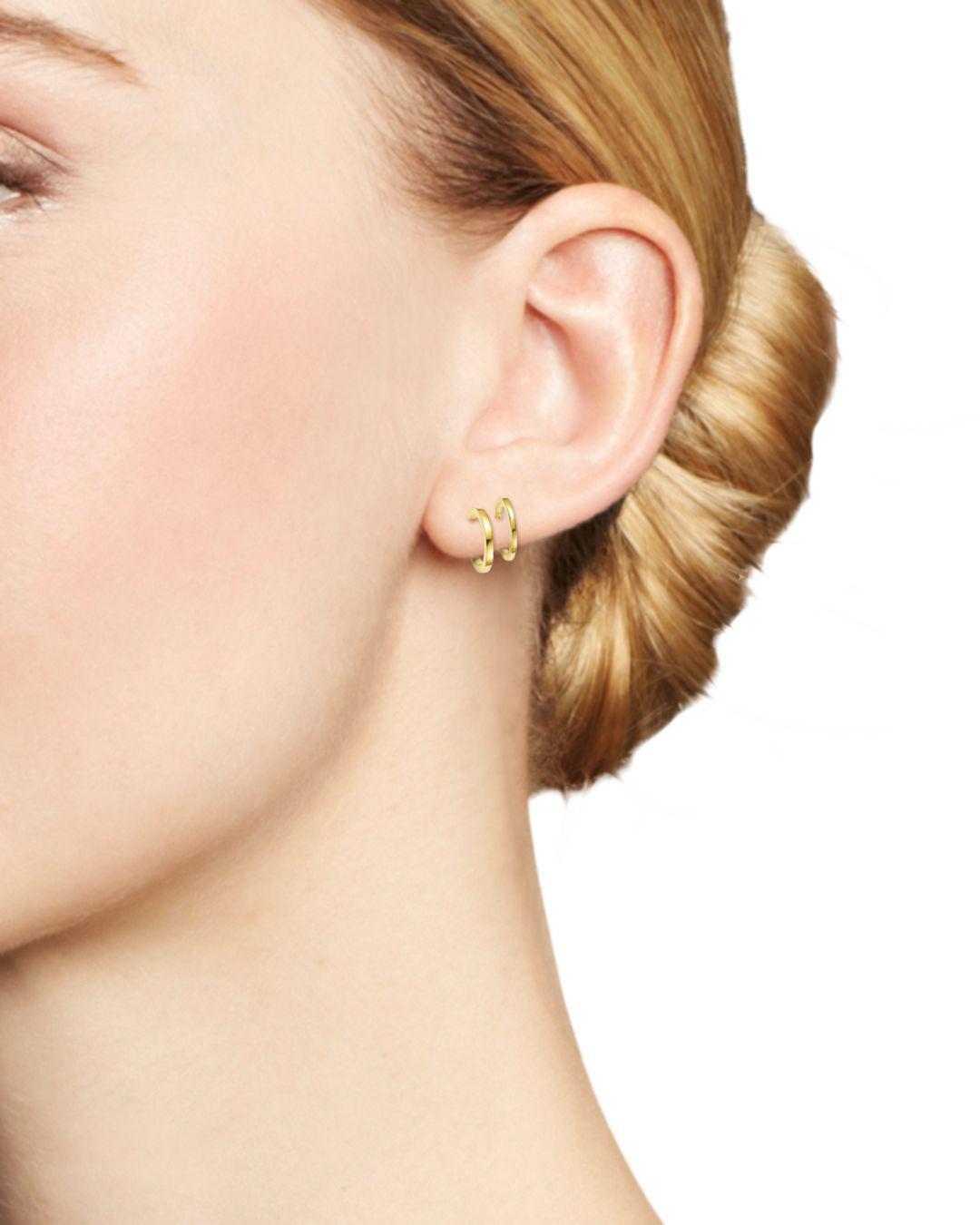 Lyst Zoe Chicco 14k Yellow Gold Double Huggie Hoop Earrings In Metallic