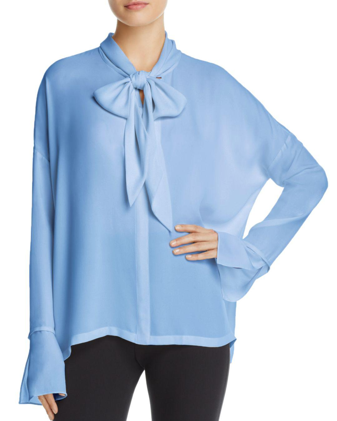 834a5ac542ce3c Lyst - Theory Tie-neck Silk Blouse in Blue