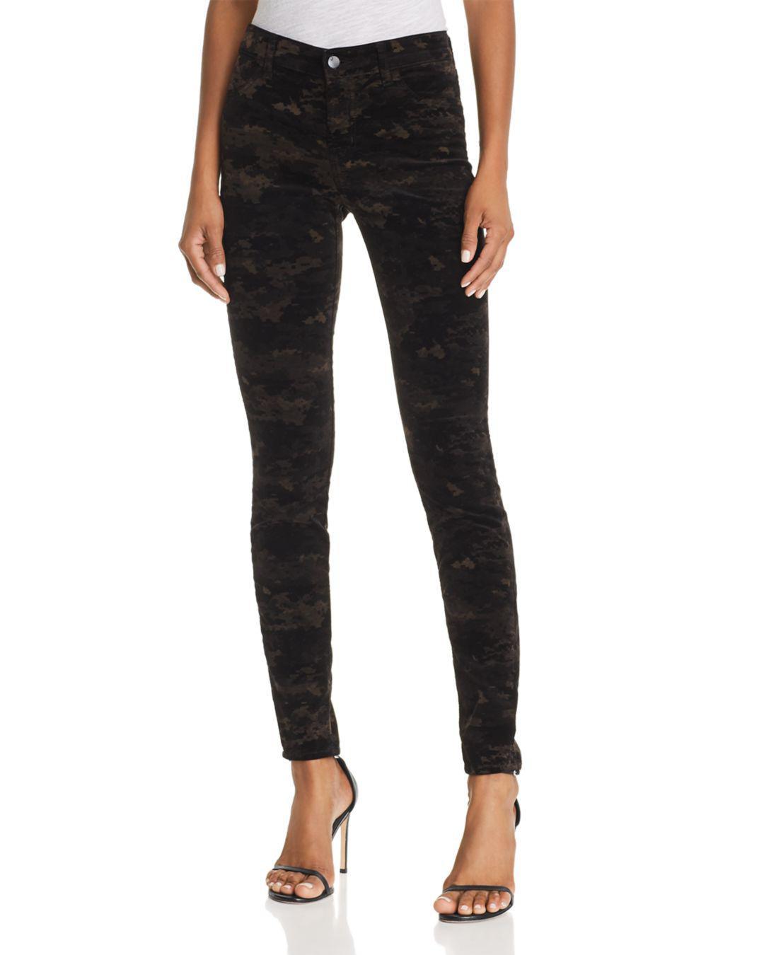 cf46f9c06a4d0 Lyst - J Brand 815 Mid Rise Super Skinny Jeans In Camo Velvet in Black