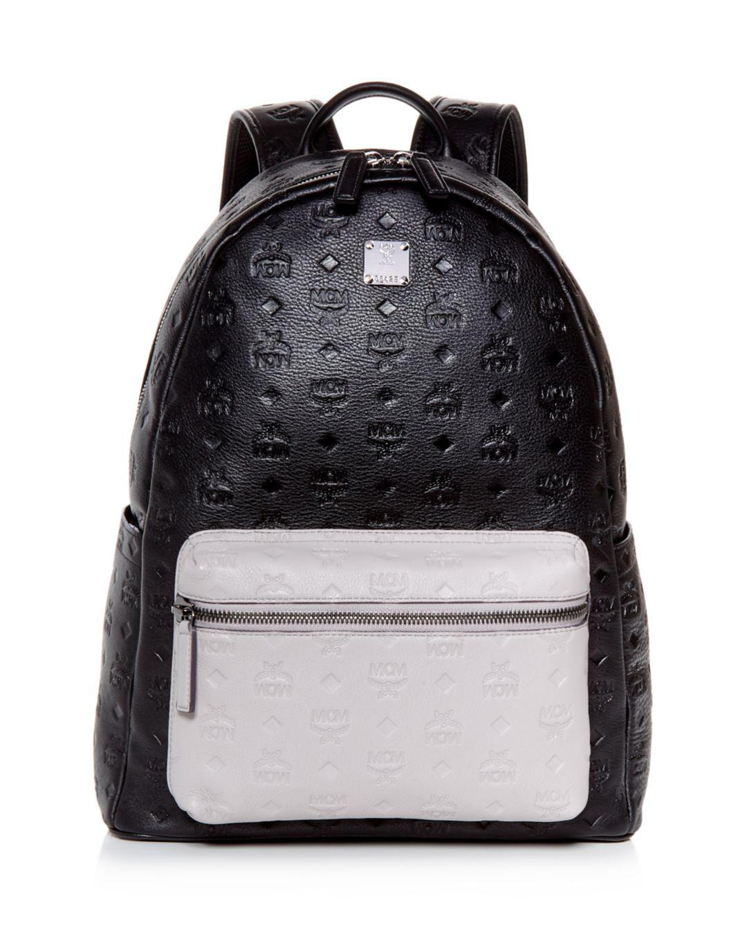 4e67fd3be6b1 MCM Tone Medium Leather Backpack in Black for Men - Lyst