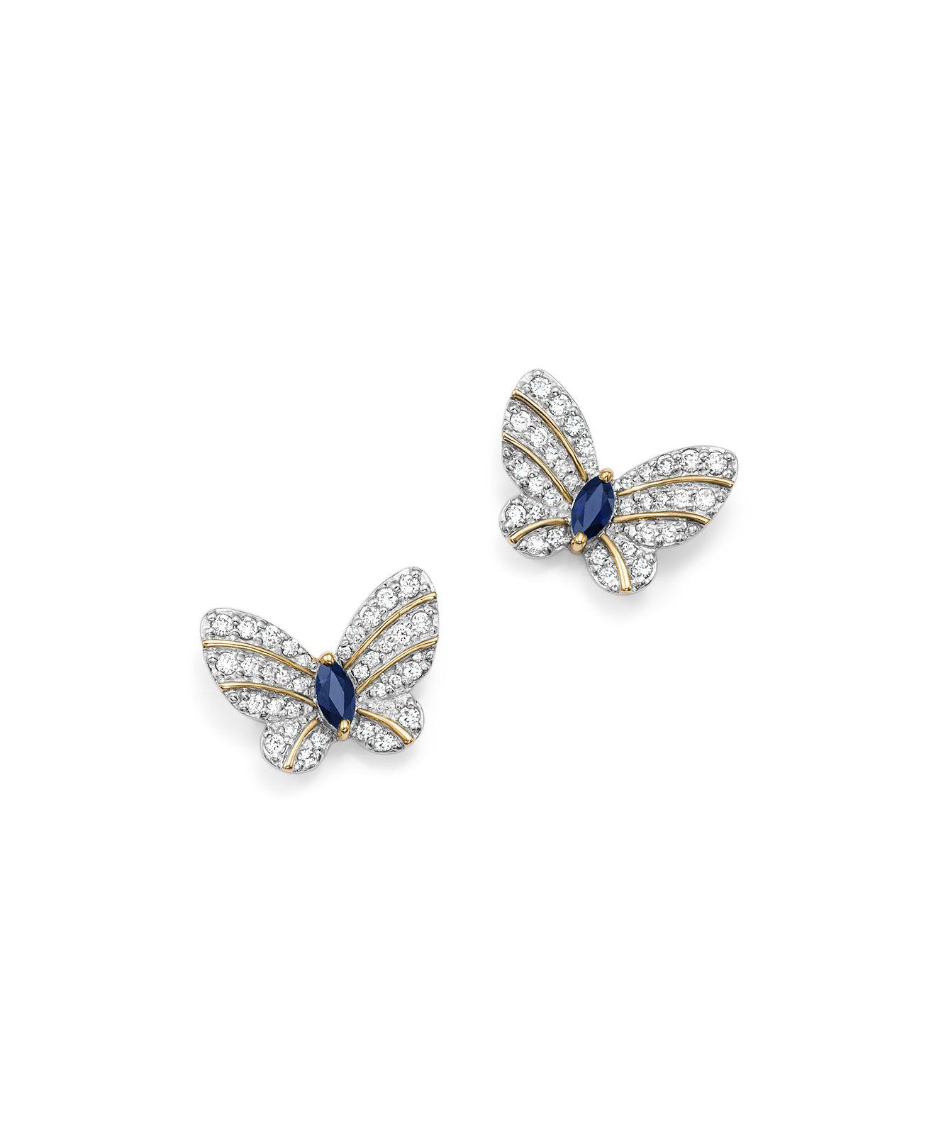 butterfly stud wonderfly hires plated rhodium silver black en earrings cm