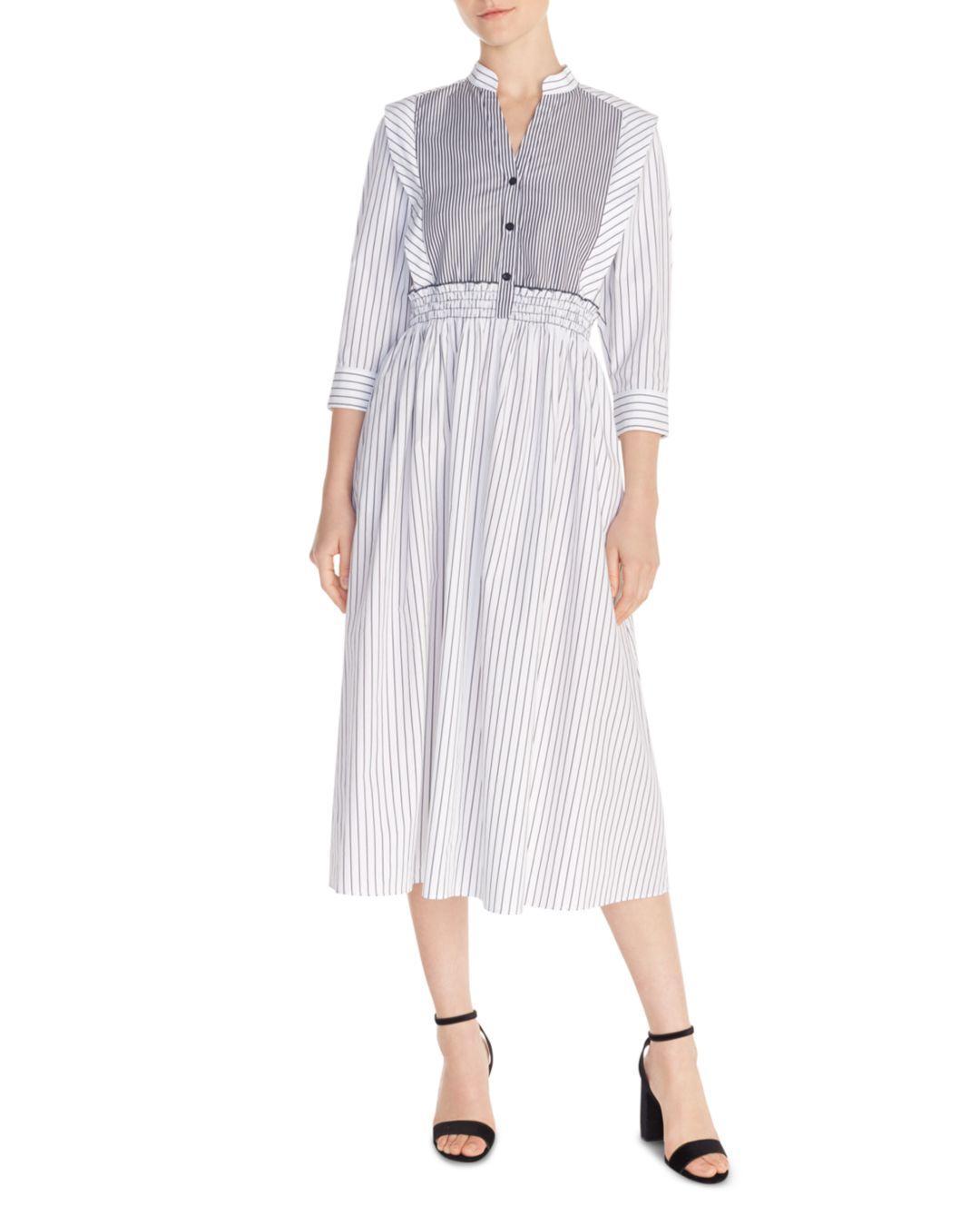 1594b002826 Lyst - Sandro Alison Striped Cotton Midi Dress in White