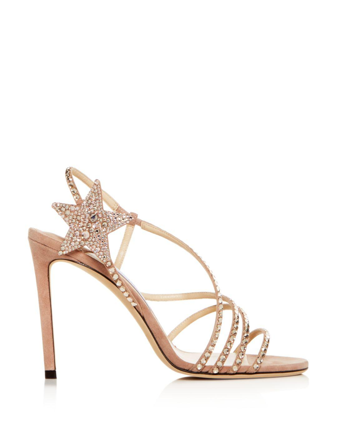 aae9c9853c08 Lyst - Jimmy Choo Women s Lynn 100 Embellished Slingback High-heel Sandals  in Pink