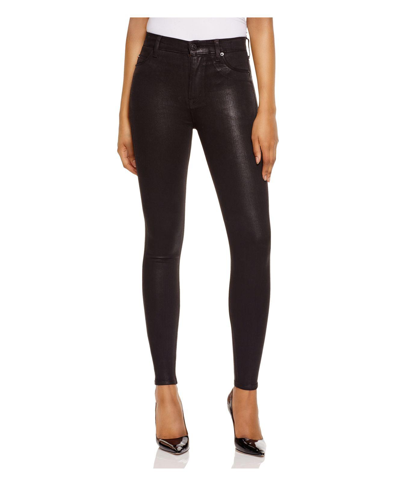 bcbff632884 Hudson Jeans Barbara Coated Super Skinny Jeans In Noir in Black - Lyst