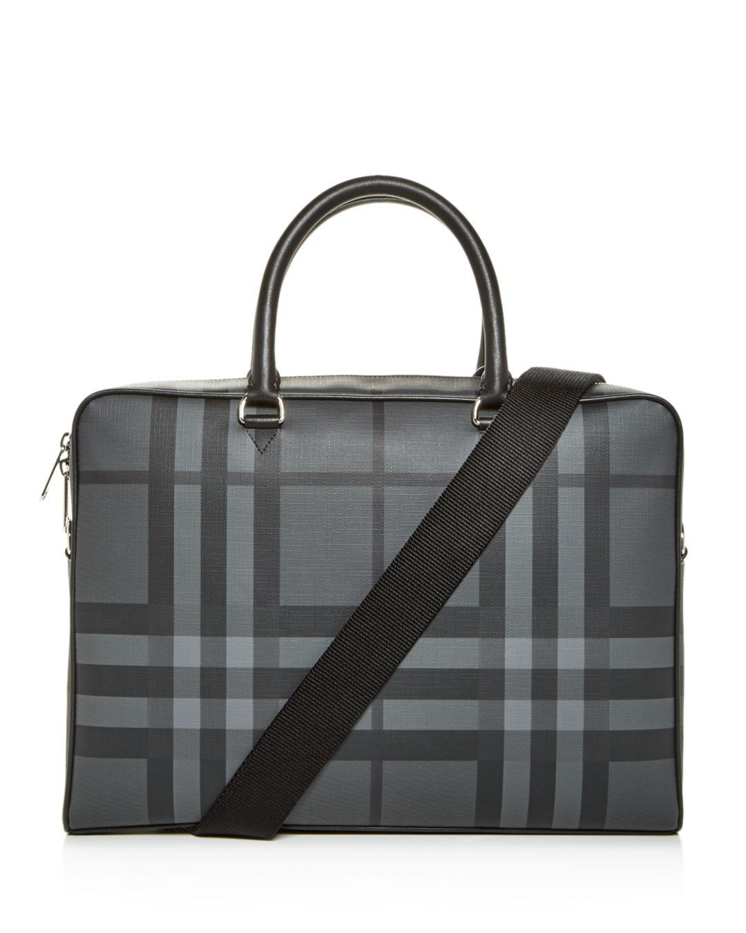 7d997707ce41 Lyst - Burberry London Check And Leather Briefcase in Black for Men