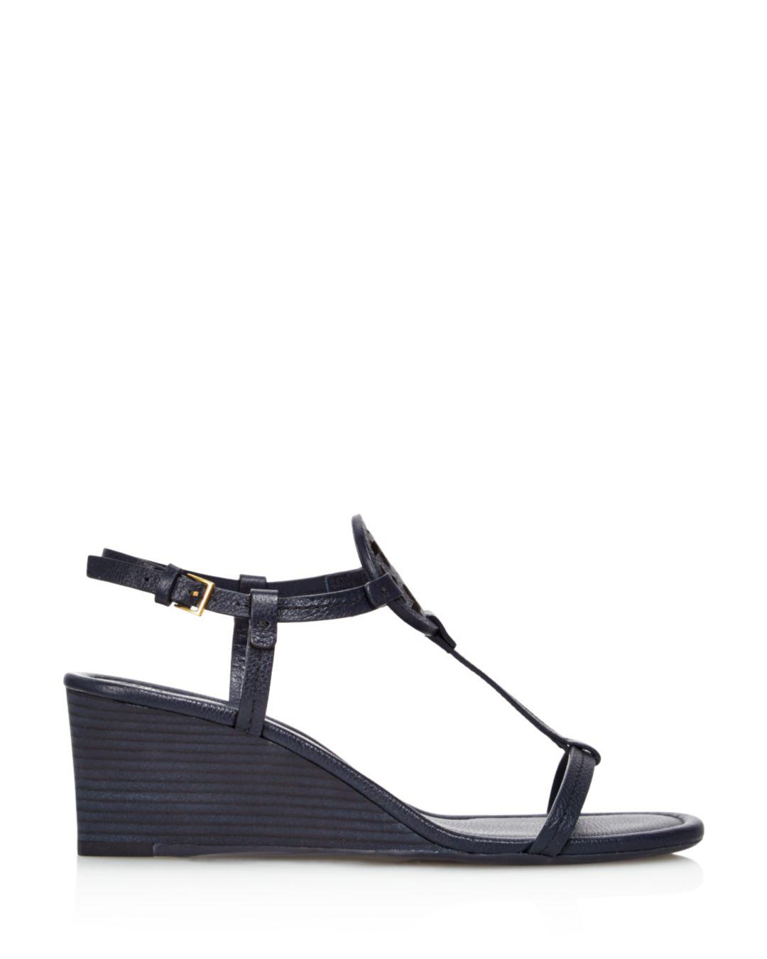 789dfc22d Lyst - Tory Burch Women s Miller Leather Wedge Sandals in Blue