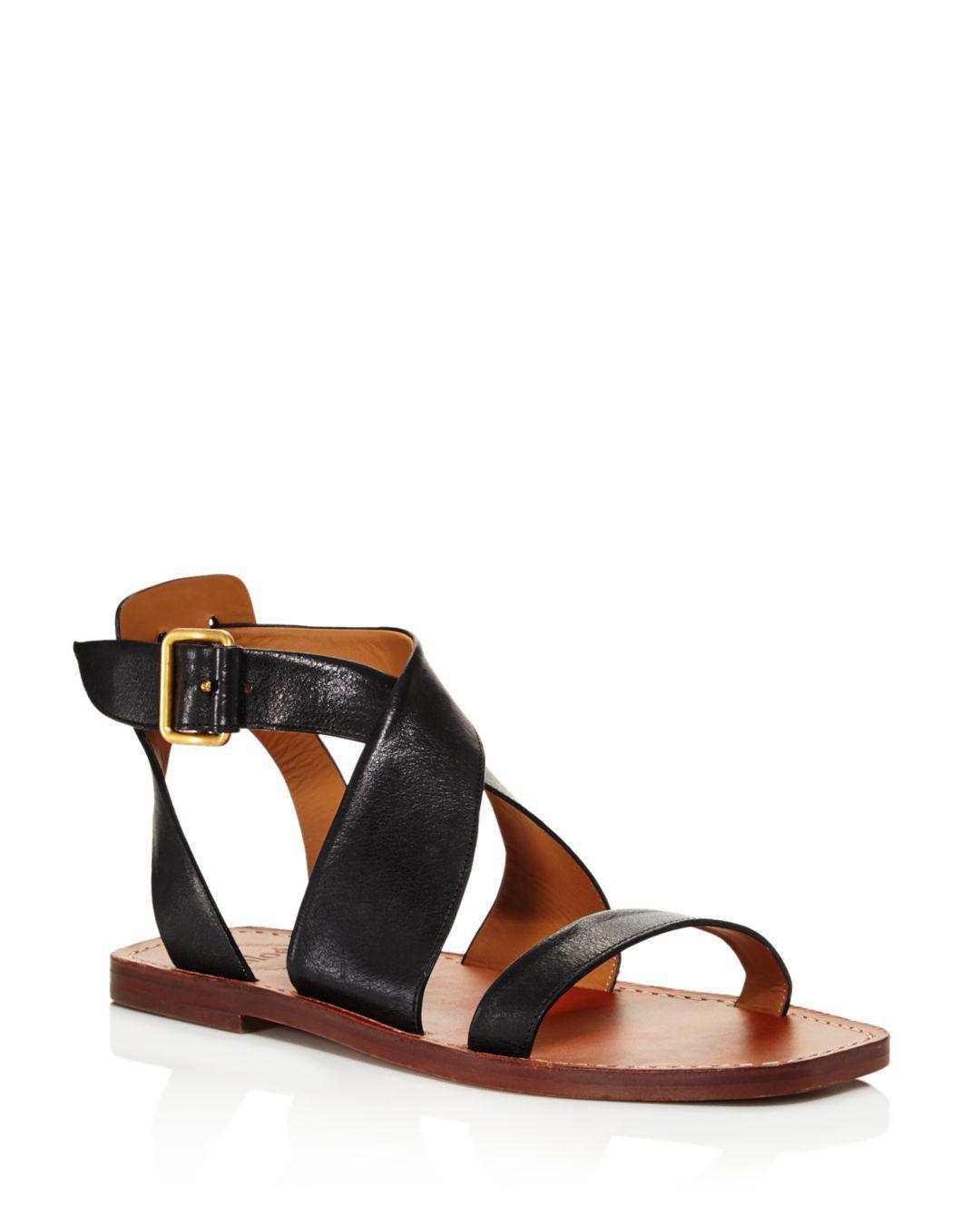 a4f3e9e07c2d2f Chloé Women s Virginia Leather Ankle Strap Sandals in Black - Lyst