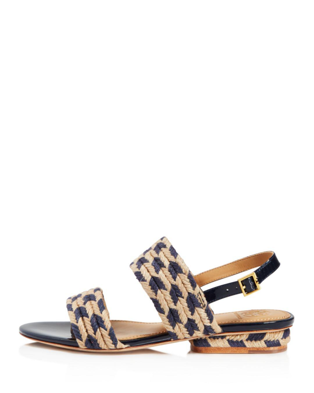 9f4596e9f614 Lyst - Tory Burch Women s Lola Woven Jute   Leather Slingback Sandals