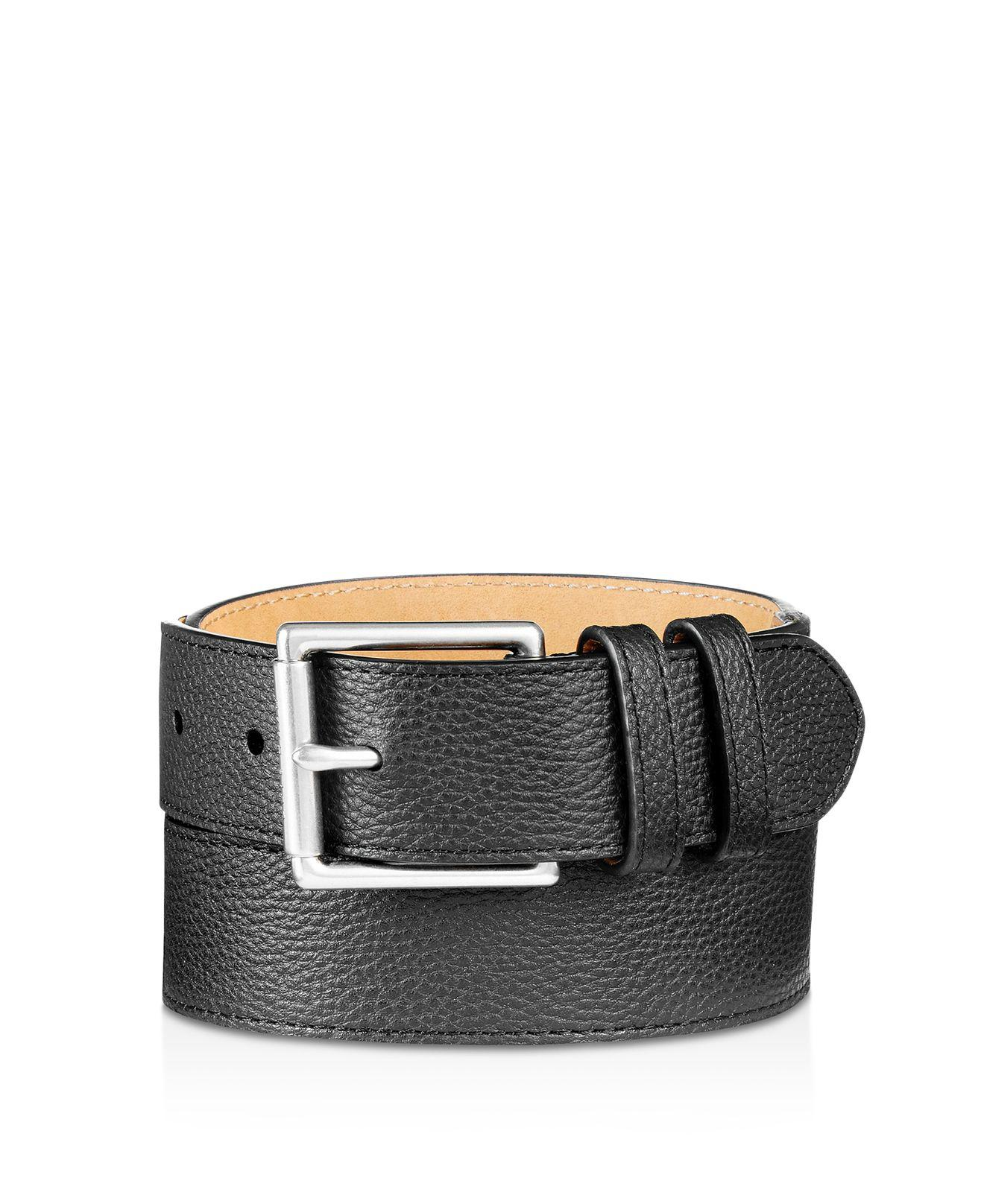 9d6ee586561a6 Lyst - Cole Haan Flat Strap Leather Belt With Stitched Edge in Black ...