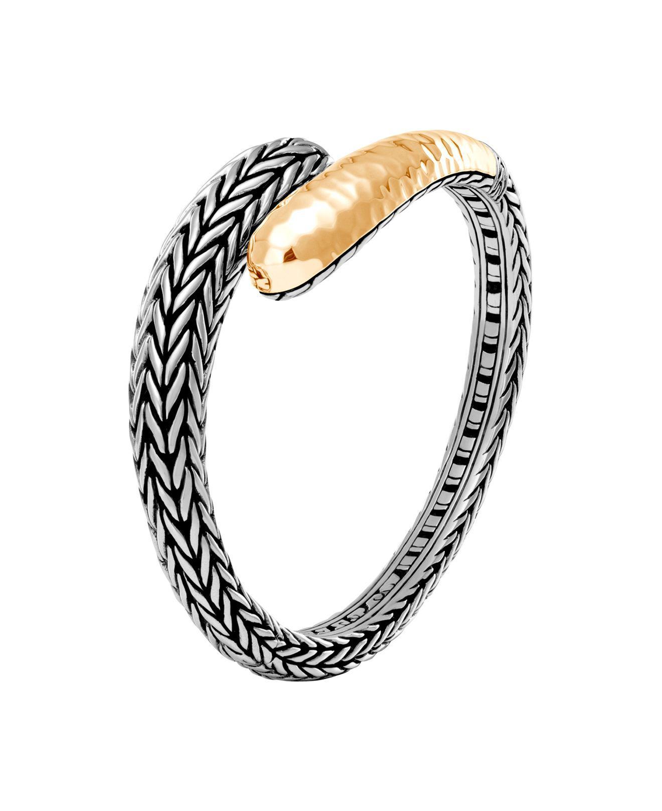 John Hardy Classic Chain Hammered 18K & Silver Bracelet with Diamonds XlHdNRuvXx