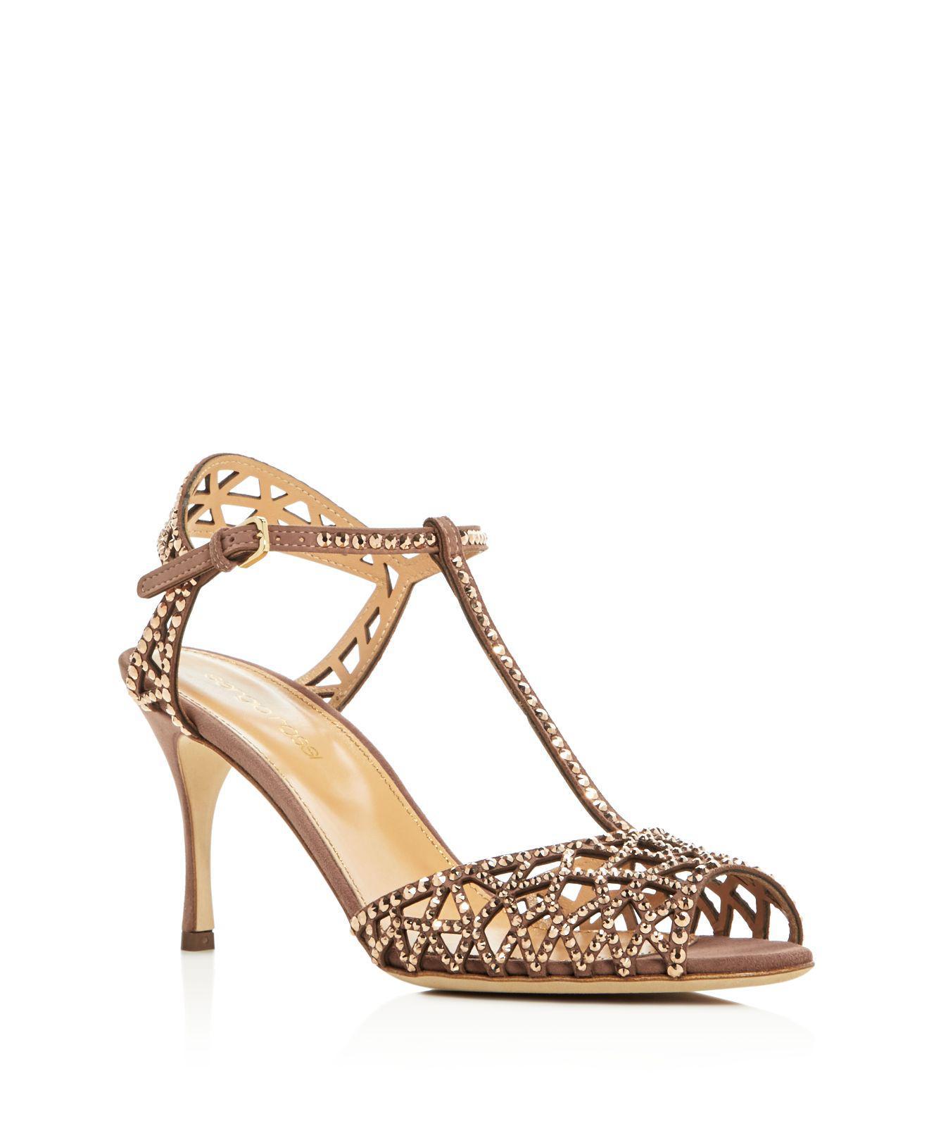 f7ff57120 Lyst - Sergio Rossi Tresor Swarovski Crystal T-strap High Heel ...