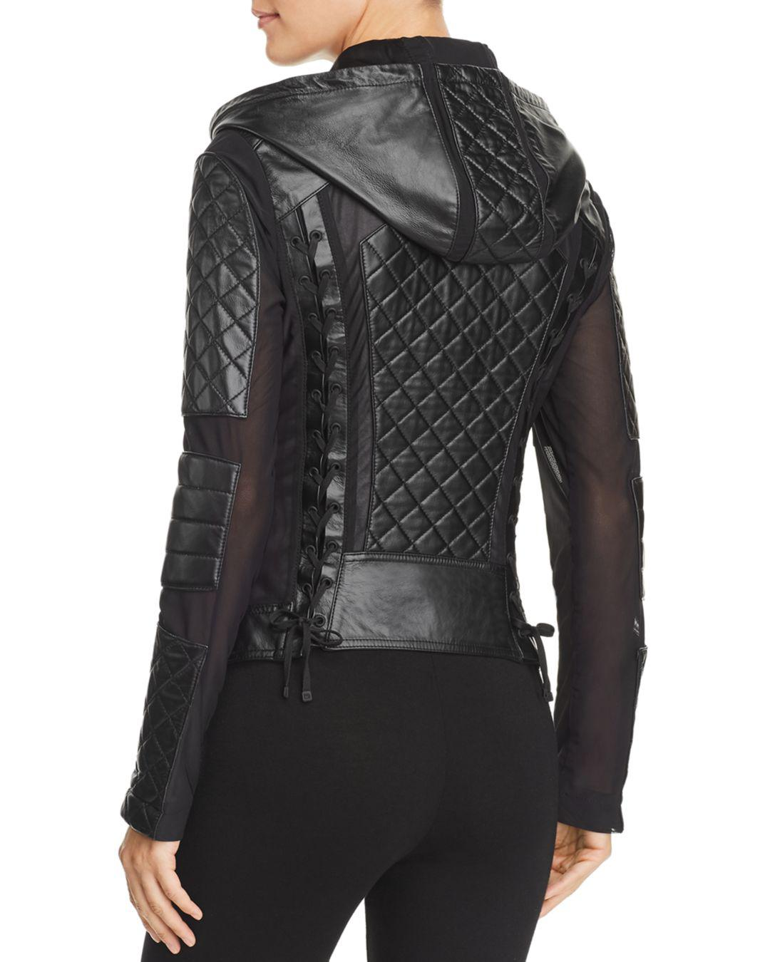 c91aa3baa976 Lyst - BLANC NOIR Voyage Leather   Mesh Hooded Moto Jacket in Black - Save  50%