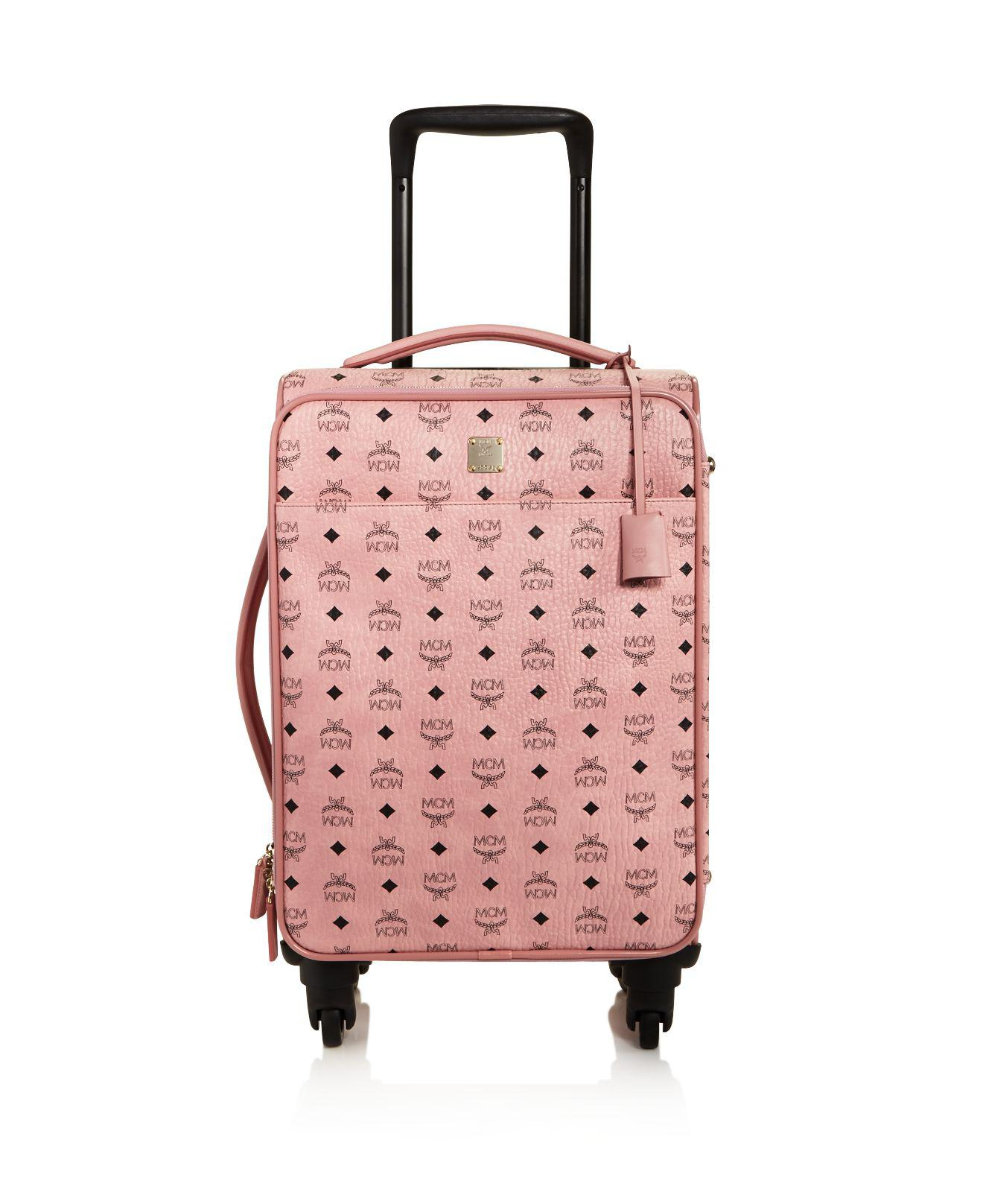 MCM Voyager Visetos Travel Trolley/Rolling Carryon Suitcase, Pink