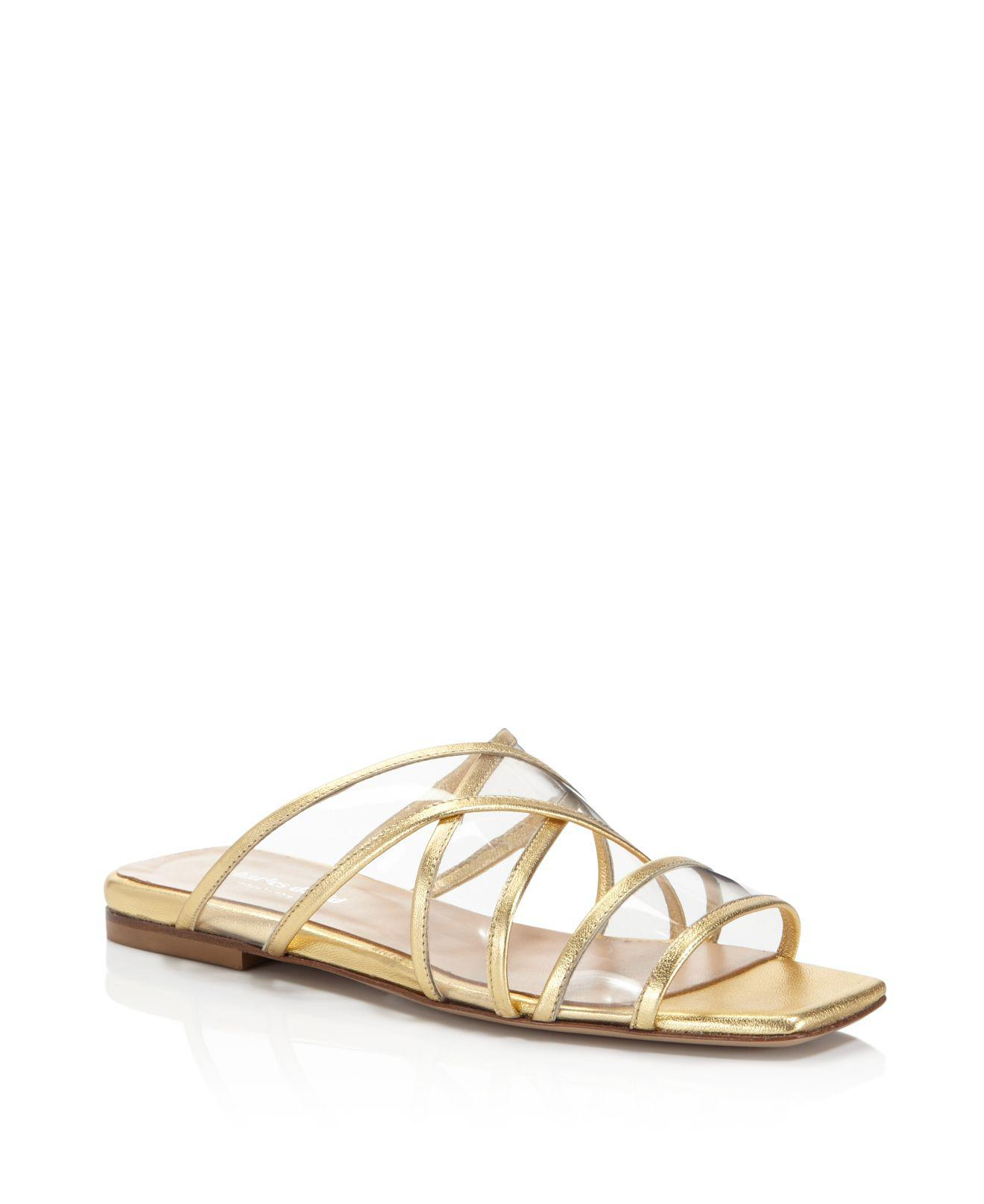 Charles David Women's Drea Strappy Patent Leather Illusion Slide Sandals XAjyMk