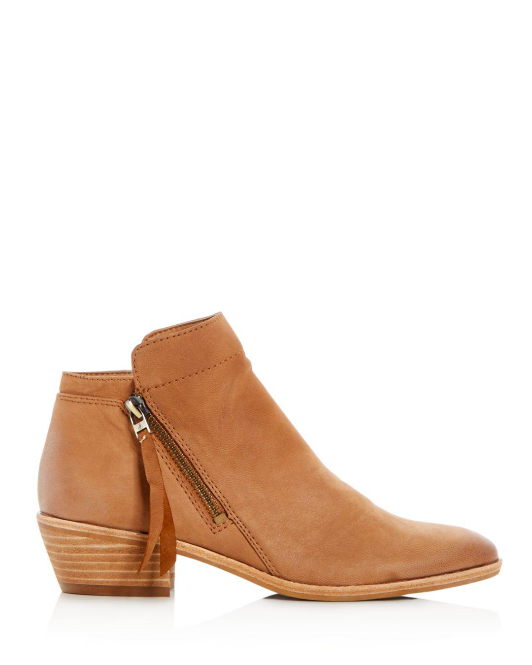 d59323df743475 Lyst - Sam Edelman Women s Packer Leather Low Heel Booties in Brown