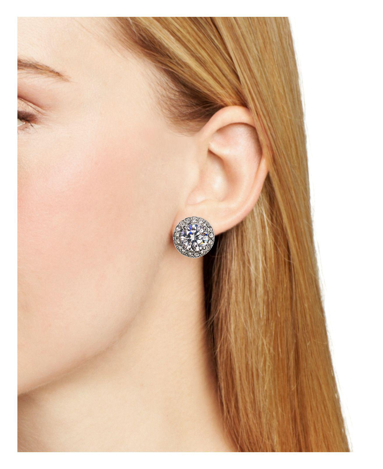 tcw round set martini in gold earrings at cubic zirconia stud