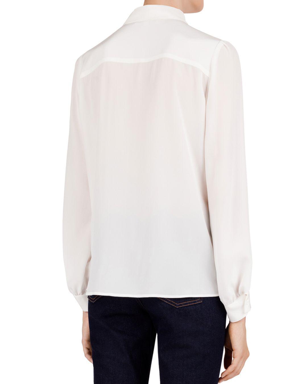 85ff4b7ac Lyst - Gerard Darel Leila Pleated Lace-inset Silk Shirt in White