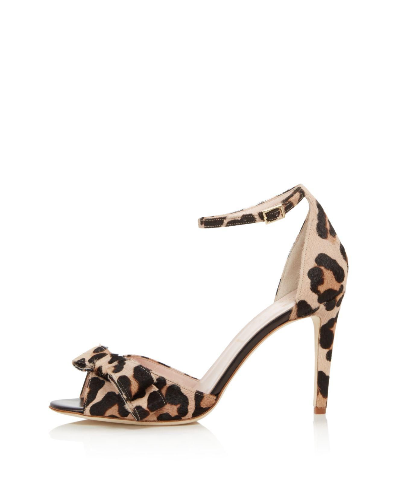 Kate Spade New York Women's Ismay Leopard Print Calf Hair High-Heel Bow Sandals EEGVFnXv