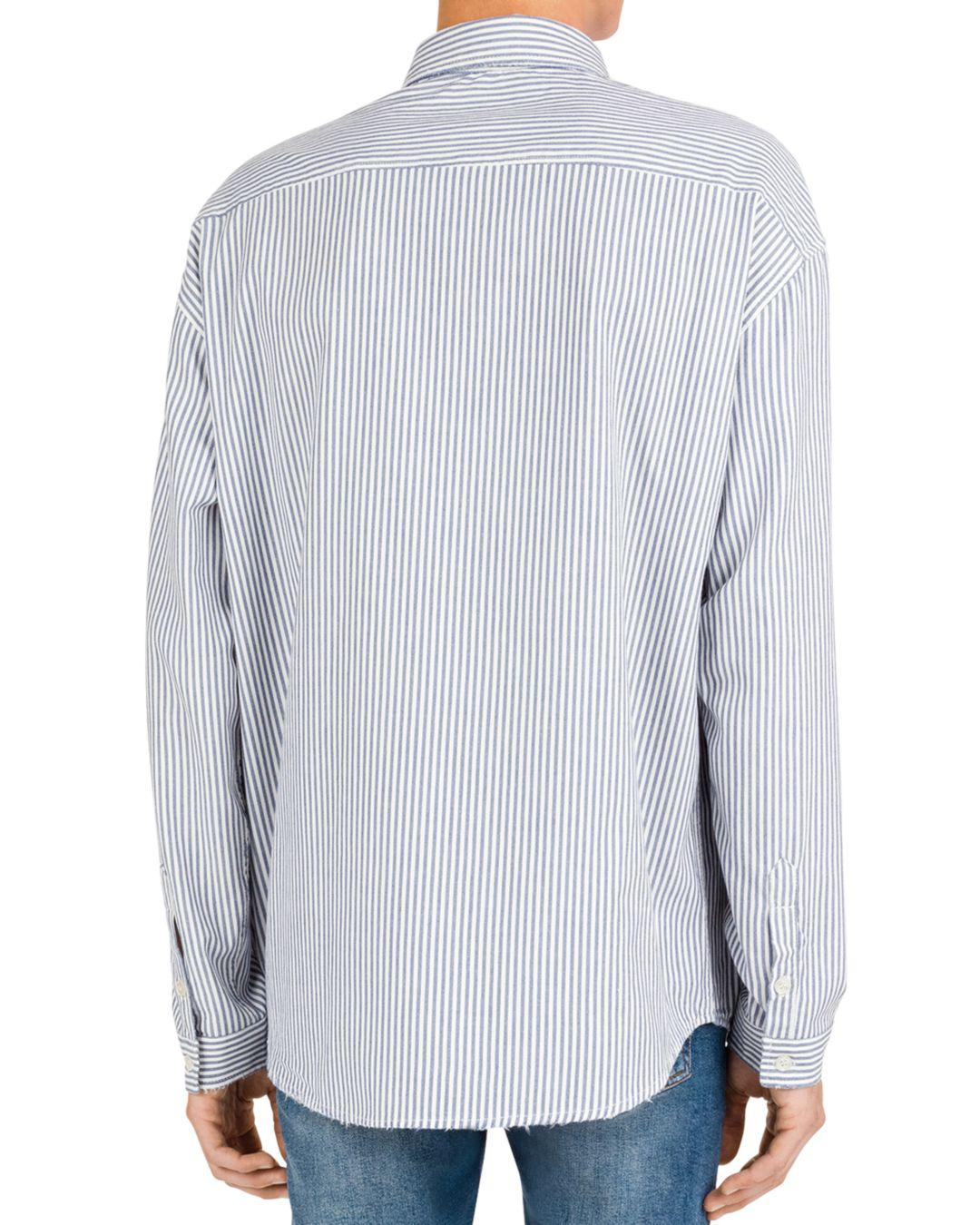 fa4877f88c9 Lyst - The Kooples Striped Distressed Denim Regular Fit Button-down Shirt  in Blue for Men