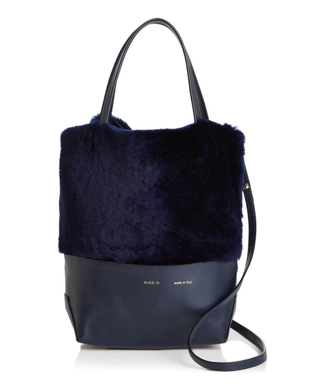 dac866dbc3 D - Blue Small Leather   Shearling Tote - Lyst. View fullscreen