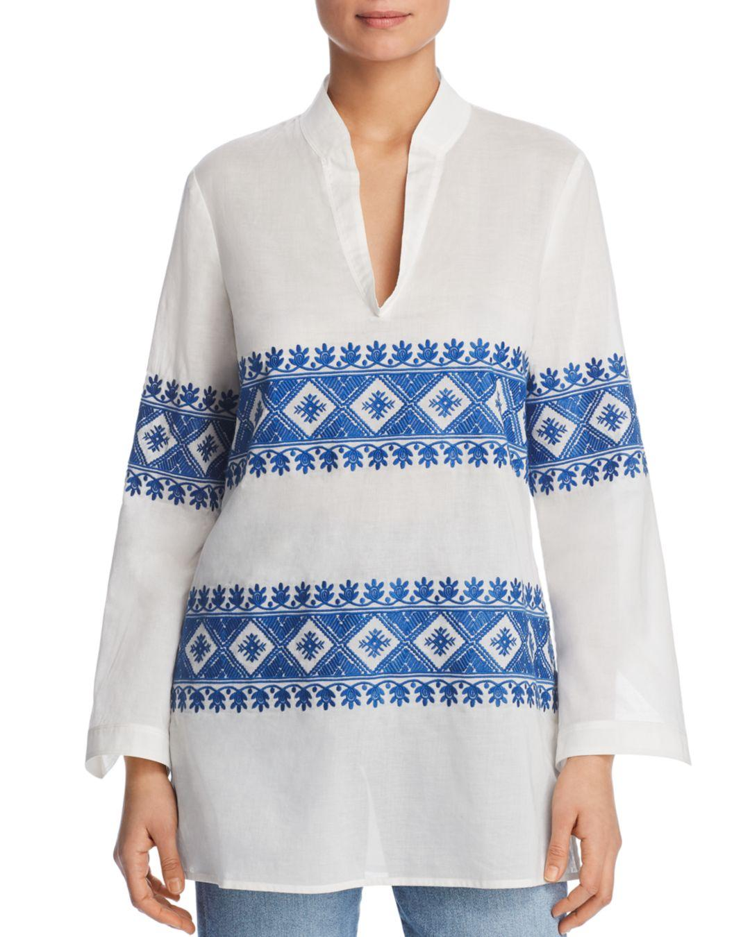 1f8fa654954 Lyst - Tory Burch Stephanie Embroidered Tunic Top in Blue