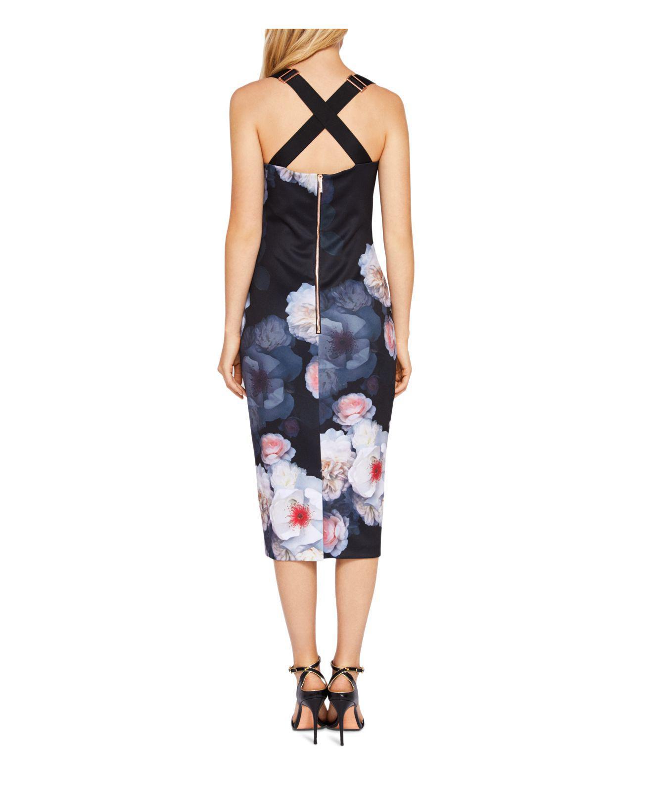 2adadd98cafd85 Lyst - Ted Baker Teeki Chelsea Print Body-con Dress in Black