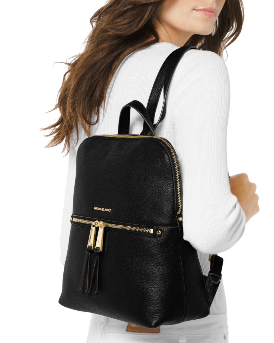 b7ecc633b3d9 MICHAEL Michael Kors - Black Rhea Medium Slim Backpack - Lyst. View  fullscreen