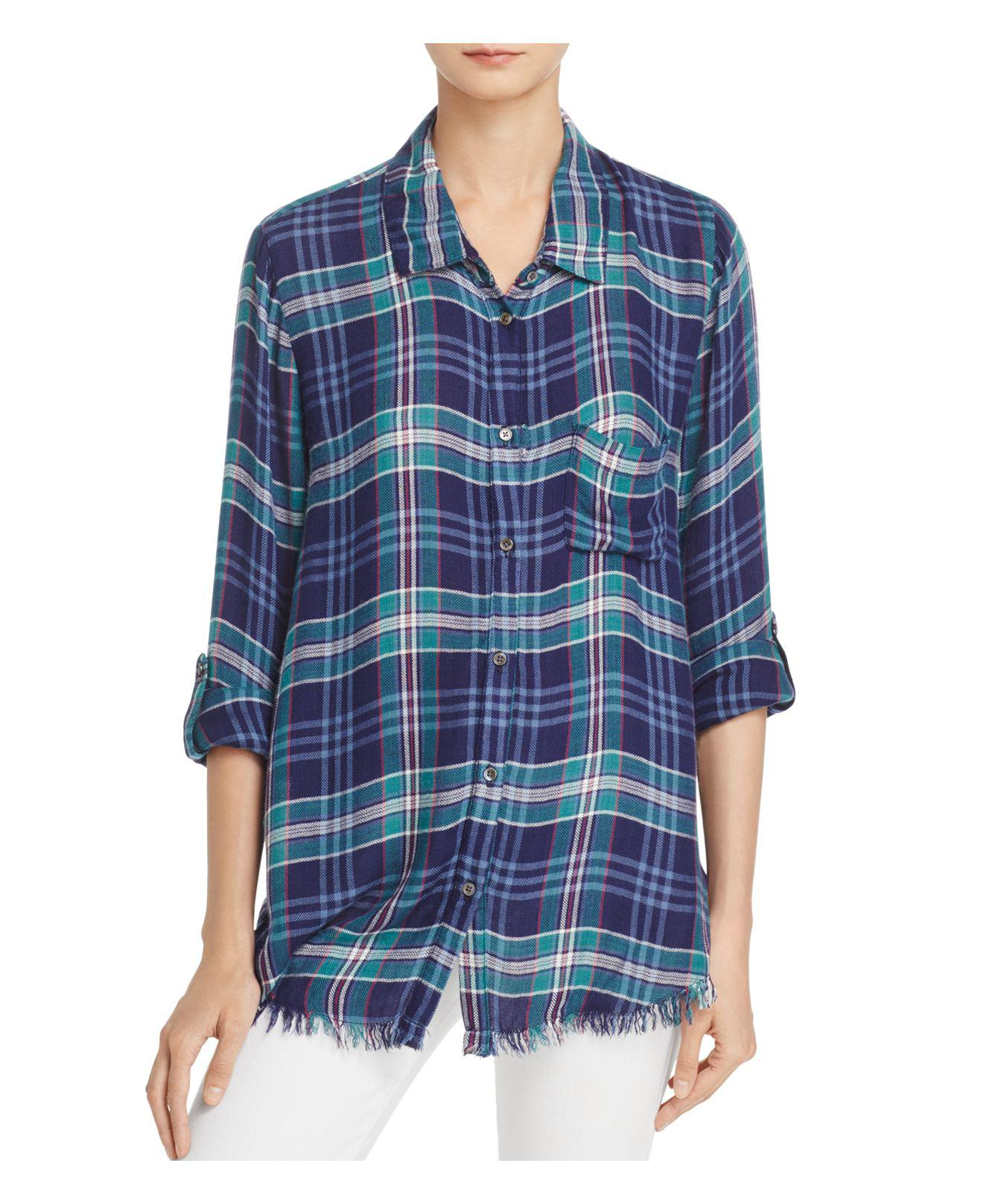 Lyst soft joie anabella e frayed plaid shirt in blue for Soft joie plaid shirt