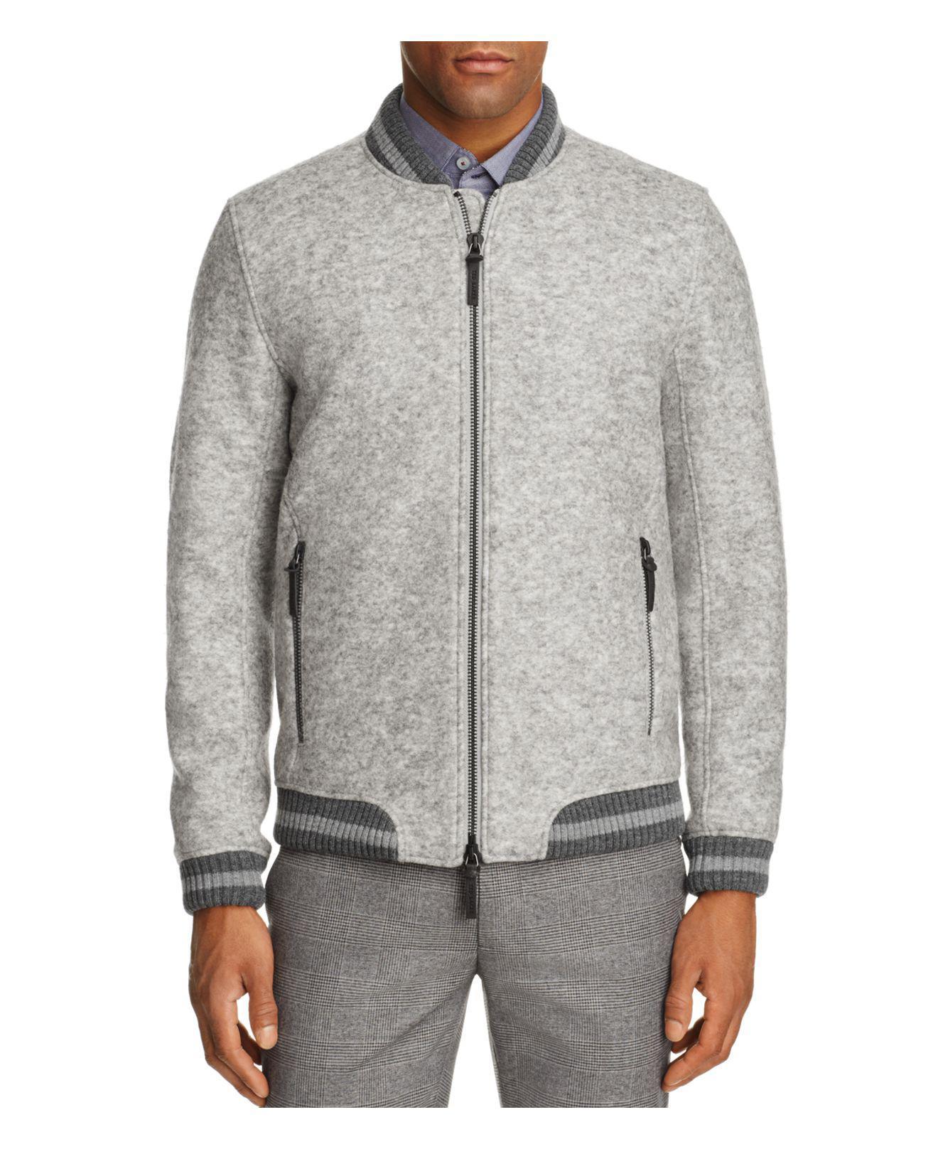 259dec731 Lyst - Ted Baker Freddy Wool Bomber Jacket in Gray for Men