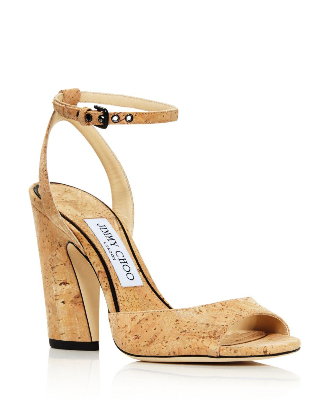 ab4fecd6dbe8 Jimmy Choo Women s Miranda 100 Cork High-heel Sandals in Natural - Lyst