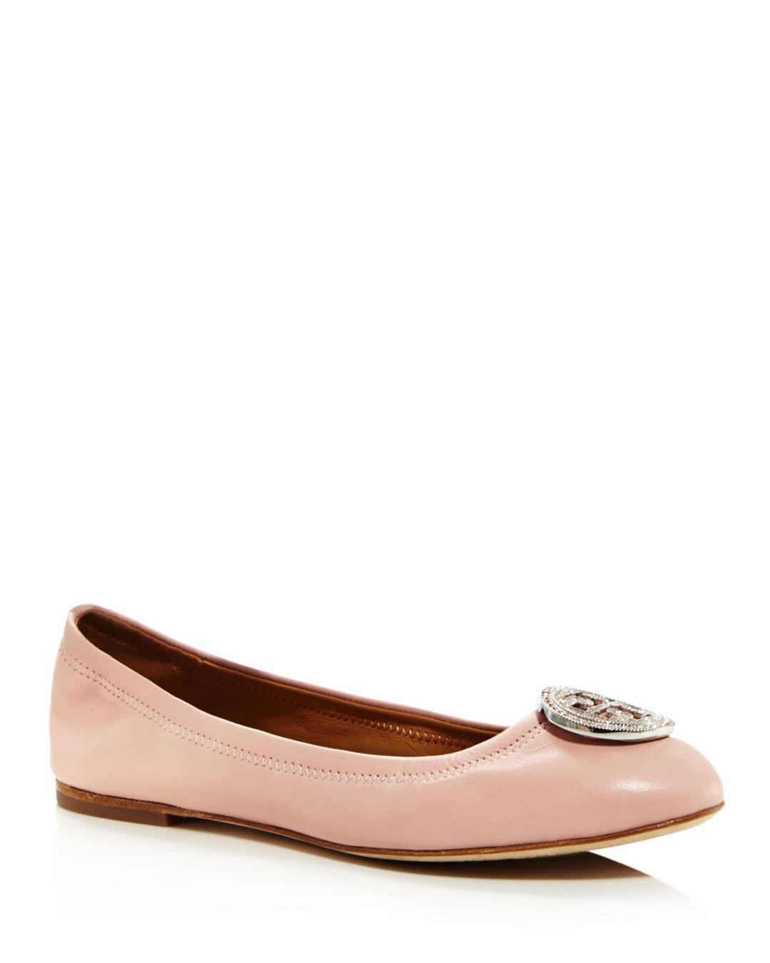 0a6359bbf449 Tory Burch. Women s Liana Round Toe Rhinestone Logo Leather Ballet Flats