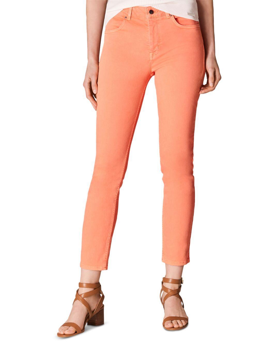 ad70ff82a6 Lyst - Karen Millen Cropped Skinny Jeans In Coral in Orange