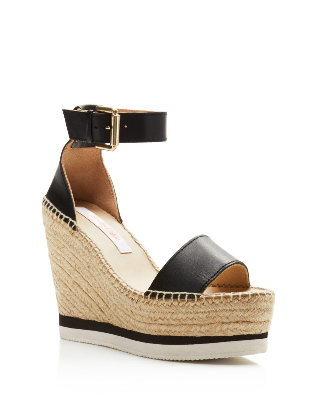 098a1cc5175 See By Chloé - Black Glyn Leather Espadrille Platform Wedge Ankle Strap  Sandals - Lyst. View fullscreen