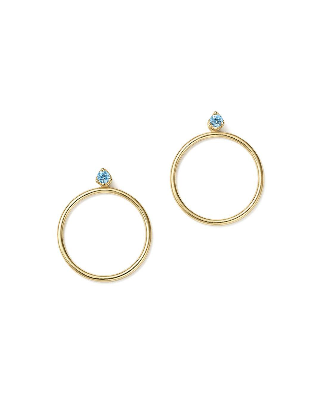 Zoe Chicco Women S Blue 14k Yellow Gold Hoop Earring Jackets With Aquamarine